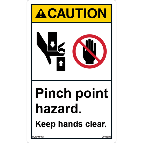 ANSI Safety Label - Caution - Pinch Point Hazard - Keep Hands Clear -  Hand - Vertical