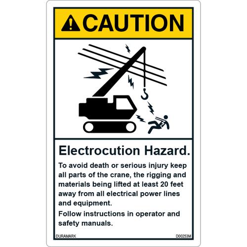 ANSI Safety Label - Caution - Electrocution Hazard - Keep Crane/Rigging/Materials 20 Feet Away - Vertical