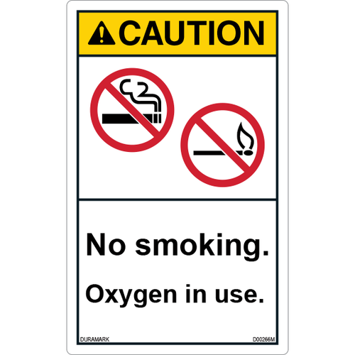 ANSI Safety Label - Caution - No Smoking - Oxygen in Use - Vertical