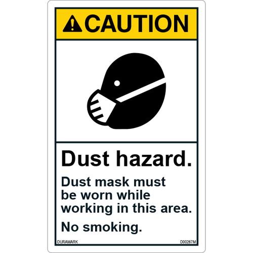 ANSI Safety Label - Caution - No Smoking - Dust Hazard - Vertical