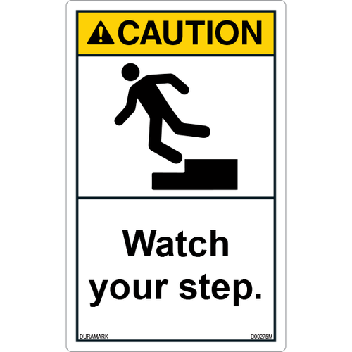 ANSI Safety Label - Caution - Watch Your Step - Standing - Vertical