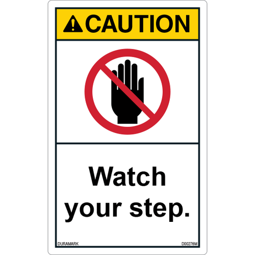 ANSI Safety Label - Caution - Watch Your Step - Vertical