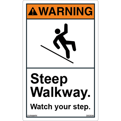 ANSI Safety Label - Warning - Watch Your Step - Steep Walkway - Vertical