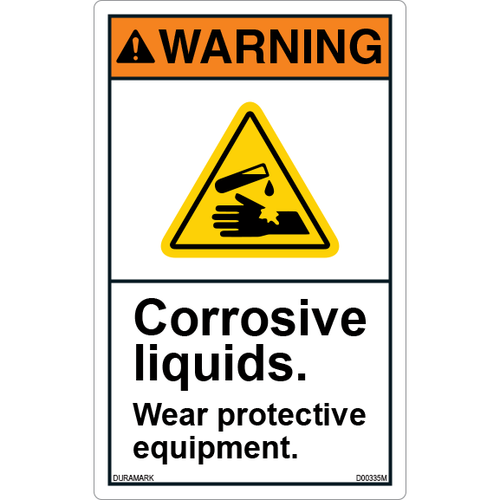 ANSI Safety Label - Warning - Corrosive Liquids - Wear Protective Equipment - Vertical