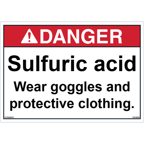 ANSI Safety Label - Danger - Sulfuric Acid - Wear Goggles/Protective Clothing