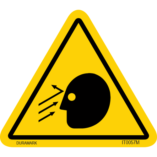 ISO safety label - Triangle - Flying Object - Face