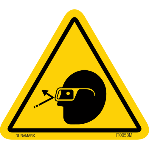 ISO safety label - Triangle - Falling Object - Face - Protective Glasses