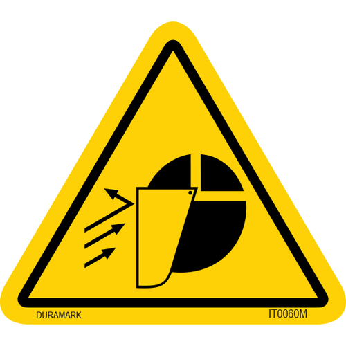 ISO safety label - Triangle - Falling Object - Face - Face Shield