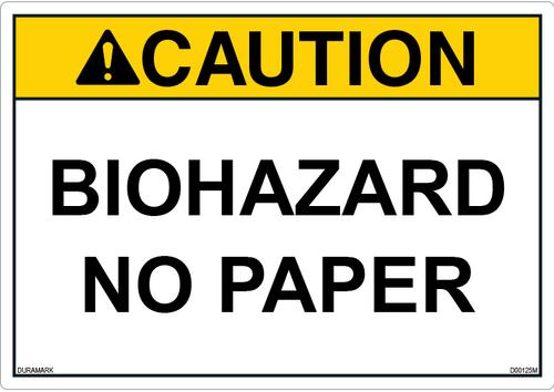 ANSI Safety Label - Caution - Biohazard - No Paper