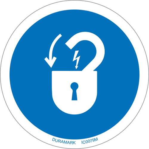 ISO safety label - Circle - Mandatory - Lock Out Electric Power
