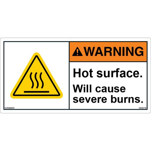 ANSI Safety Label - Warning - Hot Surface - Will Cause Burns