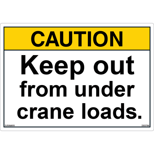 ANSI Safety Label - Caution - Keep Out From Under Crane Loads