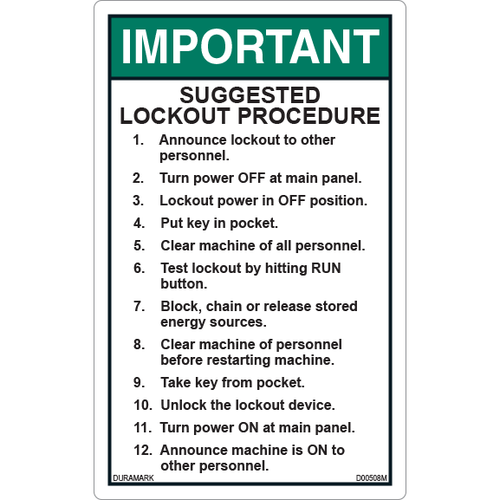 ANSI Safety Label - Important - Suggested Lockout Procedure - Vertical