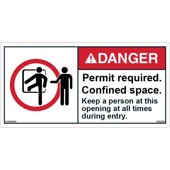 ANSI Safety Label - Danger - Confined Space - Permit Required