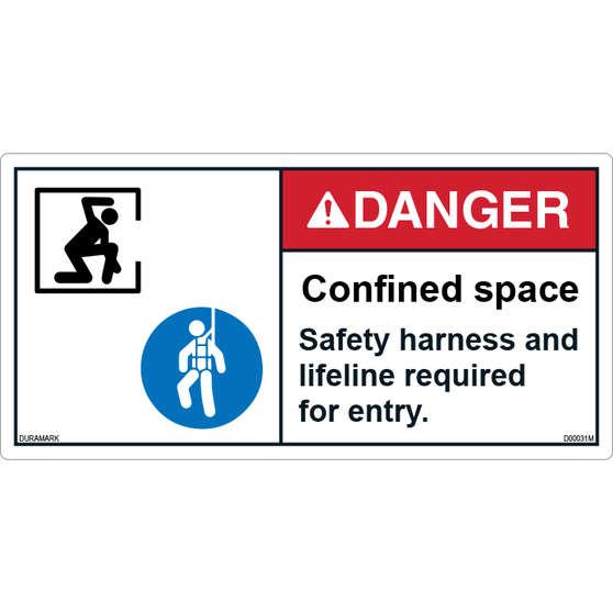 ANSI Safety Label - Danger - Confined Space - Safety Harness/Lifeline