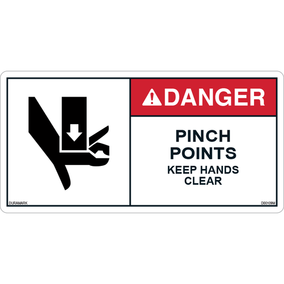 ANSI Safety Label - Danger - Pinch Points -Keep Hands Clear - Horizontal