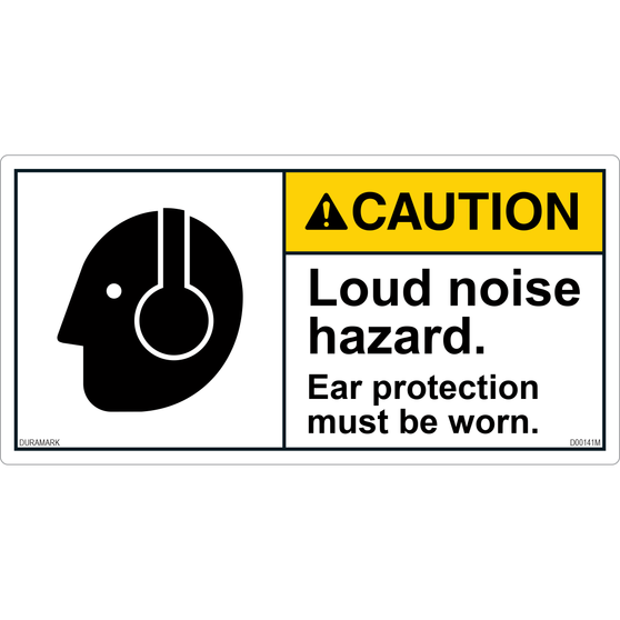 ANSI Safety Label - Caution - Loud Noise Hazard - Ear Protection