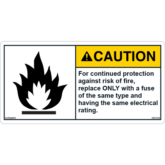 ANSI Safety Label - Caution - Electrical Safety - Same Fuse