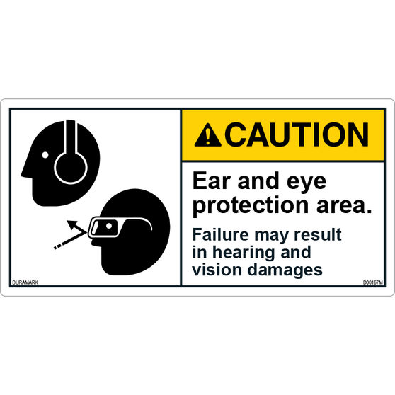 ANSI Safety Label - Caution - Ear/Eye Protection - Hearing/Vision Damages