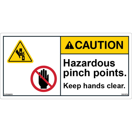 ANSI Safety Label - Caution - Hazardous Pinch Points - Keep Hands Clear