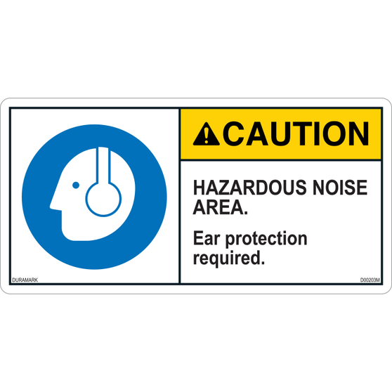 ANSI Safety Label - Caution - Hazardous Noise Area - Ear Protection Required