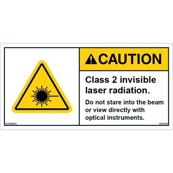 ANSI Safety Label - Caution - Invisible Laser - Class 2