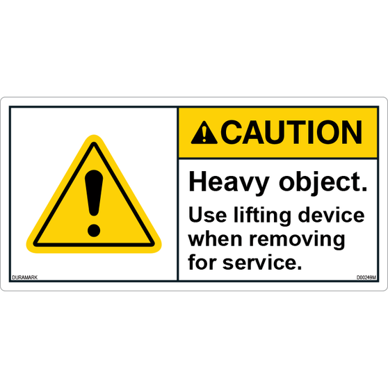 ANSI Safety Label - Caution - Heavy Object - Use Lifting Device
