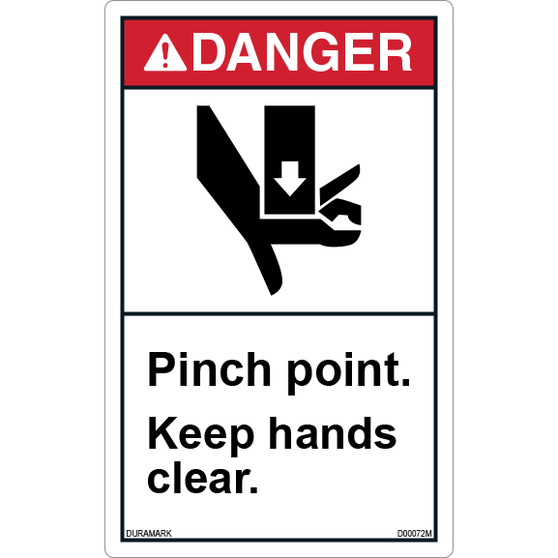 ANSI Safety Label - Danger - Pinch Points -Keep Hands Clear - Vertical