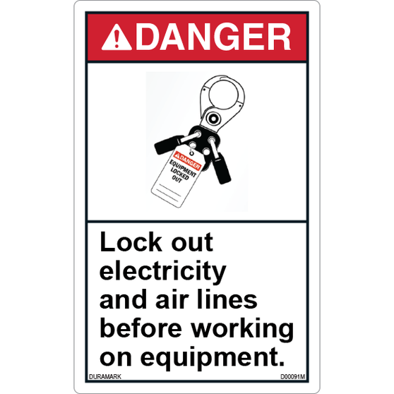 ANSI Safety Label - Danger - Lockout - Electricity and Air Lines - Vertical
