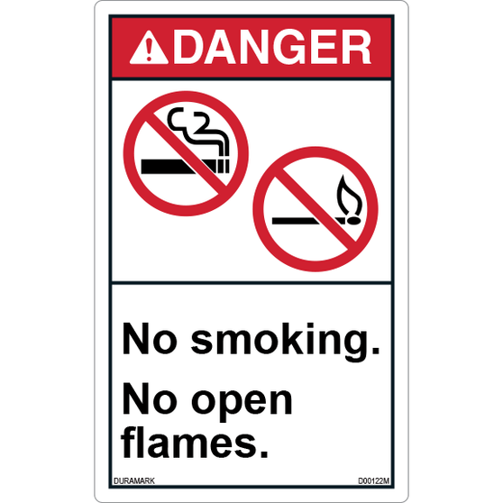 ANSI Safety Label - Danger - No Smoking/No Open Flames - Vertical