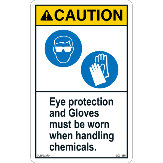ANSI Safety Label - Caution - Chemical Safety - Eye Protection/Gloves - Vertical