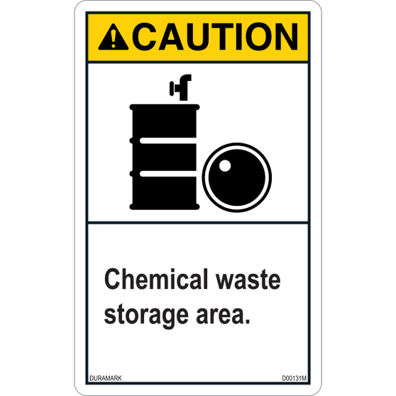 Caution - Chemical Waste Storage - Vertical