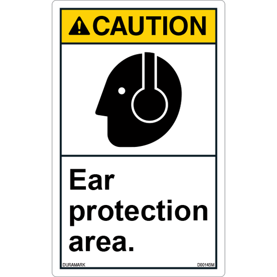 ANSI Safety Label - Caution - Ear Protection Area - Vertical