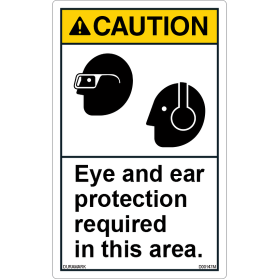 ANSI Safety Label - Caution - Ear/Eye Protection Required - Vertical