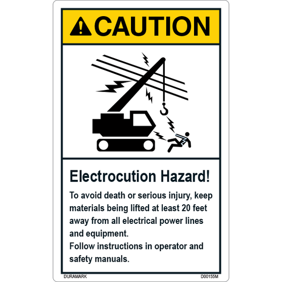 ANSI Safety Label - Caution - Electrocution Hazard - Keep Materials Lifted 20 Feet Away - Vertical