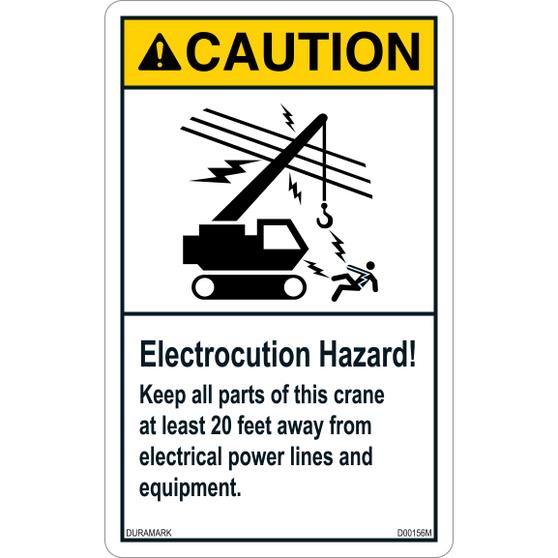 ANSI Safety Label - Caution - Electrocution Hazard - Keep Crane 20 Feet Away - Vertical