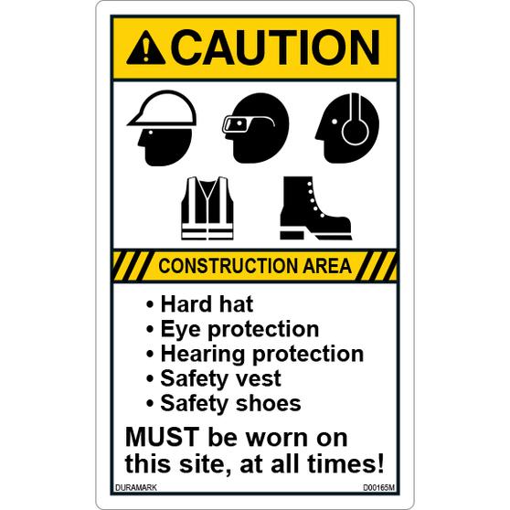 Caution - Construction Area - Hard Hat/Eye/Ear/Vest/Shoes - Vertical