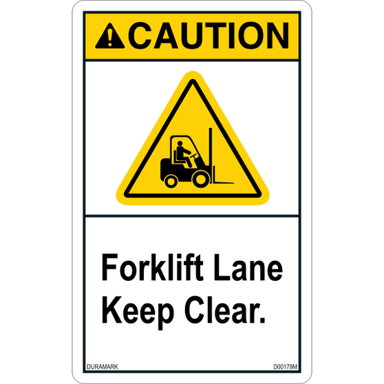 ANSI Safety Label - Caution - Forklift Lane - Keep Clear - Triangle - Vertical