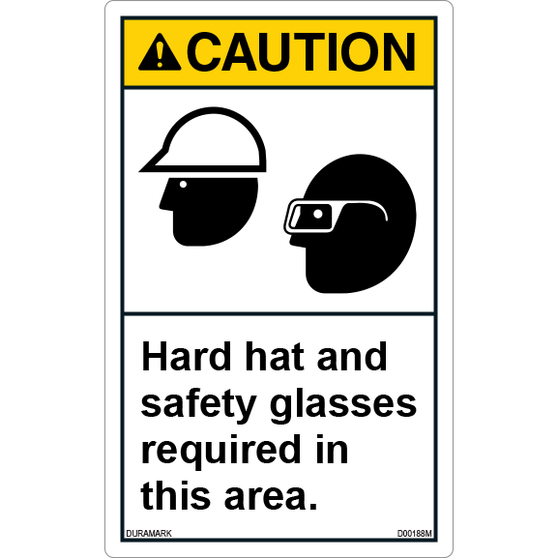 ANSI Safety Label - Caution - Hard Hat/Safety Glasses Required - Vertical