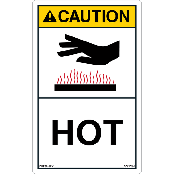 ANSI Safety Label - Caution - Hot - Vertical