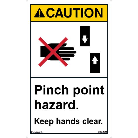 ANSI Safety Label - Caution - Pinch Point Hazard - Keep Hands Clear - Vertical
