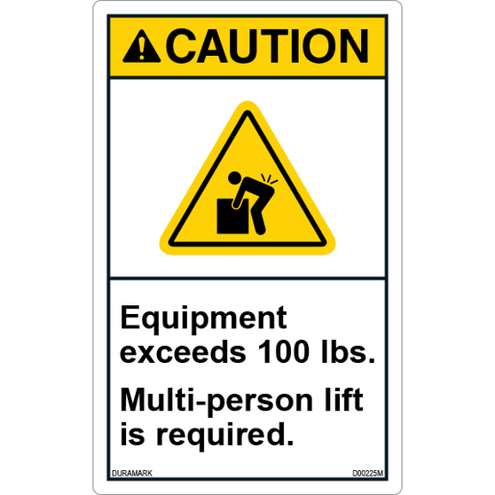 ANSI Safety Label - Caution - Multi-Person Lift Required - Heavy Equipment - Vertical