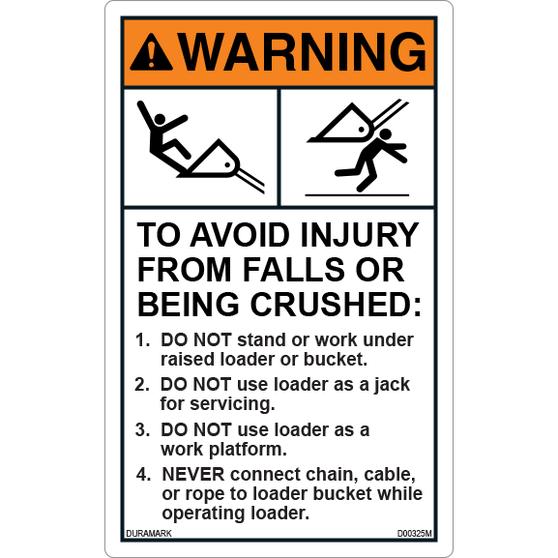 ANSI Safety Label - Warning - Backhoe and Excavator - Avoid Falls/Crushed - Vertical