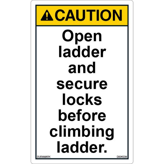 ANSI Safety Label - Caution - Ladder Safety - Open Ladder/Secure Locks - Vertical