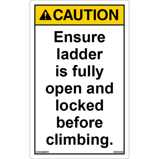 ANSI Safety Label - Caution - Ladder Safety - Ensure Fully Open and Locked - Vertical