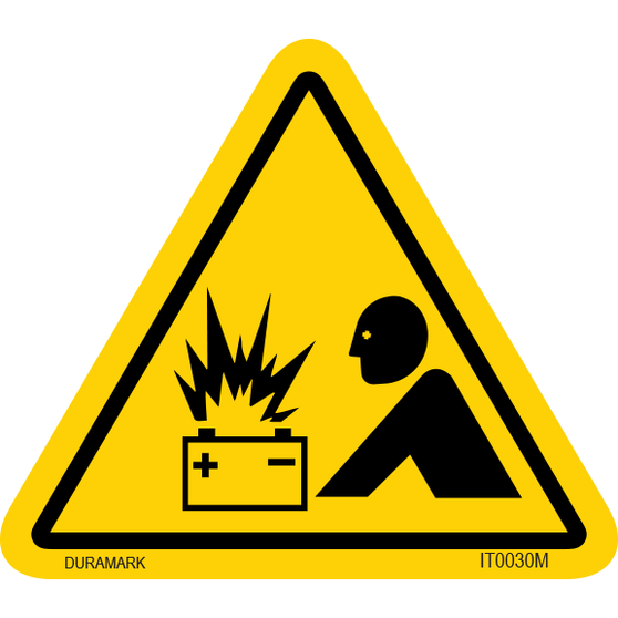 ISO safety label - Triangle - Battery Explosion - Human