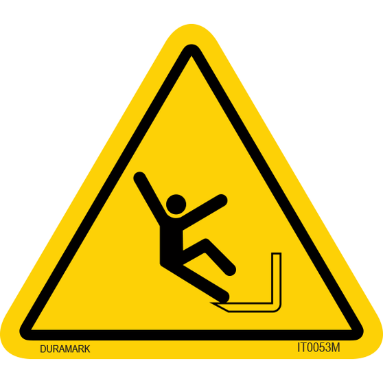 ISO safety label - Triangle - Fall - Corner
