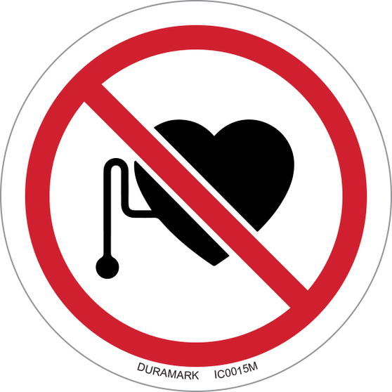 ISO safety label - Circle - Prohibited - No Pacemaker Wearers
