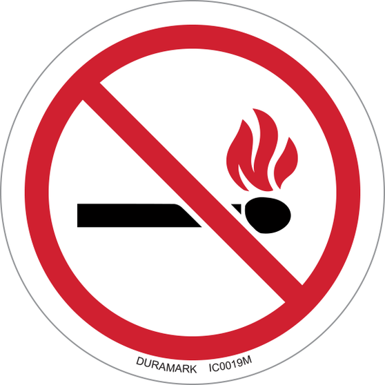 ISO safety label - Circle - Prohibited - No Open Flame
