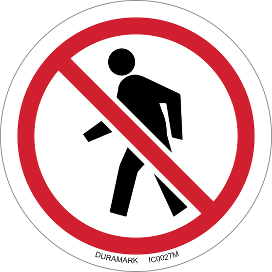 ISO safety label - Circle - Prohibited - No Pedestrians